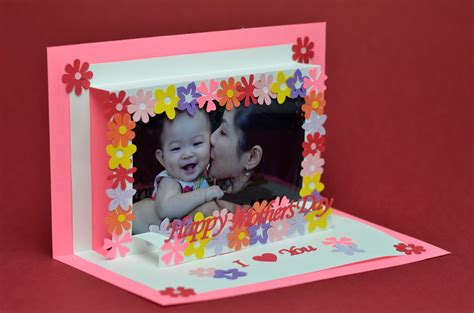 mothers day pop up card templates flower frame pop up card template creative pop up cards
