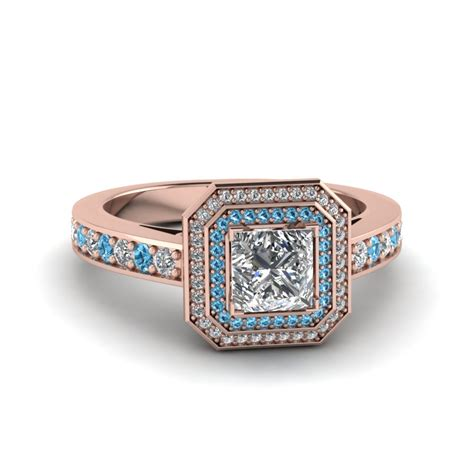 princess cut halo pave engagement ring with