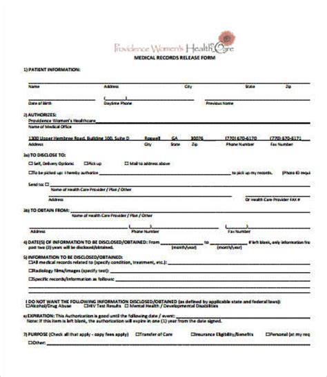 records release form template records release form 7 free pdf documents