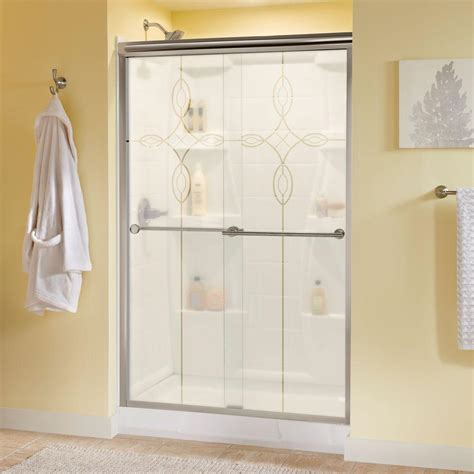 Shower Doors Ta Delta Lyndall 48 In X 70 In Semi Frameless Sliding Shower Door In Nickel With Tranquility