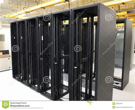 Rack In Data Center by Data Center And Empty Racks Royalty Free Stock Photo