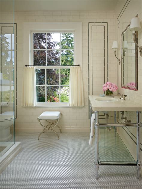 penny tile floor Bathroom Shabby chic with bathroom