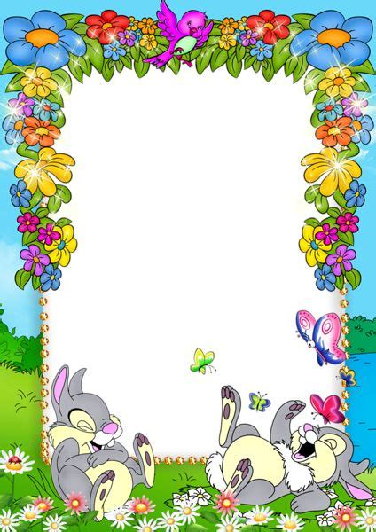 Decorative Frames Cute Blue Kids Png Photo Frame With Flowers And Bunnies