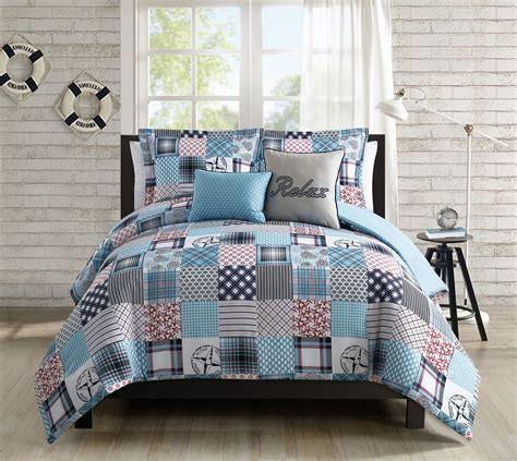 Patchwork Comforter Set - 5 coastal patchwork reversible comforter set