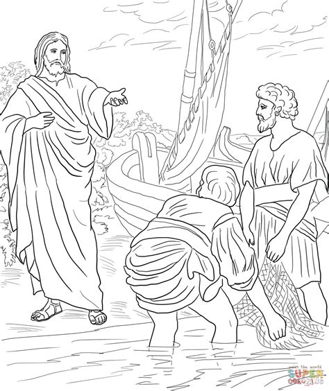 coloring pages for jesus and his disciples jesus calls the disciples coloring page free
