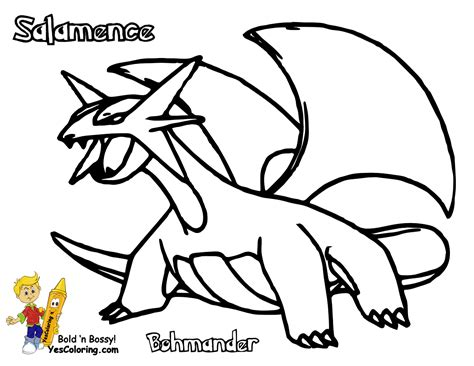 pokemon coloring pages mega salamence image gallery salamence drawing