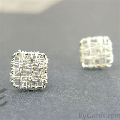 sweet square anti allergy studs silver wire drawing