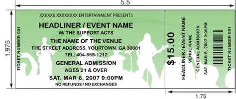 ticket size template interesting concert ticket template exle with white
