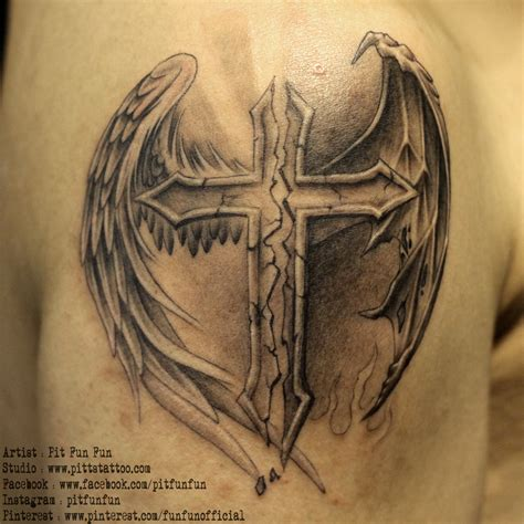 tattoo angel and cross cross with angel and demon wings www pittstattoo com