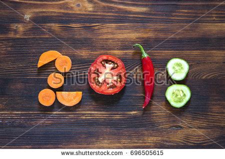 new year food delivery 2018 happy new year 2018 made vegetables stock photo 696505615