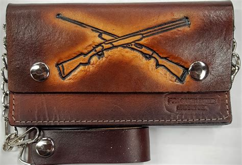 rifles embossed leather wallet with chain leather belts usa
