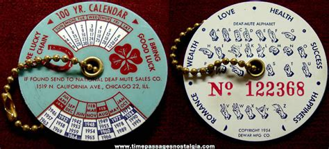 Calendar Keychain 100 Years 169 1954 National Deaf Mute Advertising Premium 100 Year