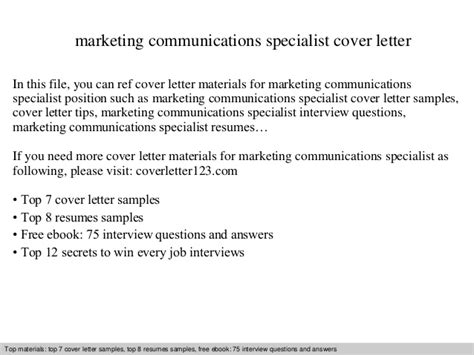 marketing and communications cover letter marketing communications specialist cover letter