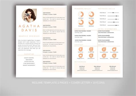 creative resume templates free ms word resume template for ms word resume templates on creative market