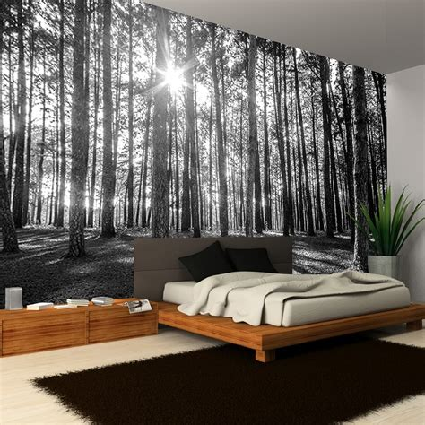 bedroom murals uk rainbow black white woodland forest mural photo giant