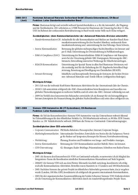 Lebenslauf Vorlage Schweiz Kader Lebenslauf Rolf Fehlmann De Juli 2012