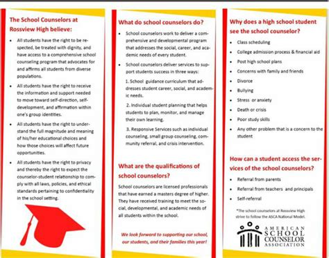 School Counselor Brochure Template Arts Arts School Counseling Brochure Template
