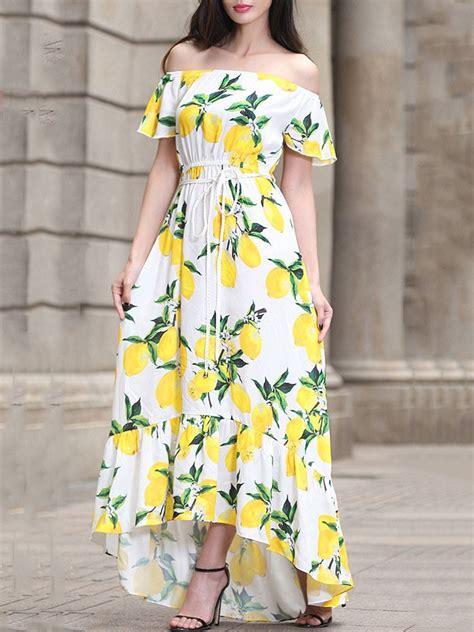 shoulder long summer dresses  lemon printed