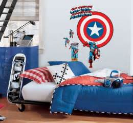 cozy bedroom with captain america decorating theme