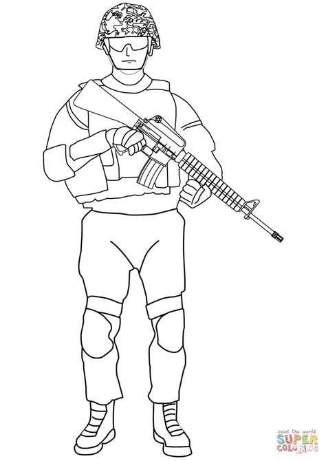 soldier with m16 coloring page free printable coloring pages