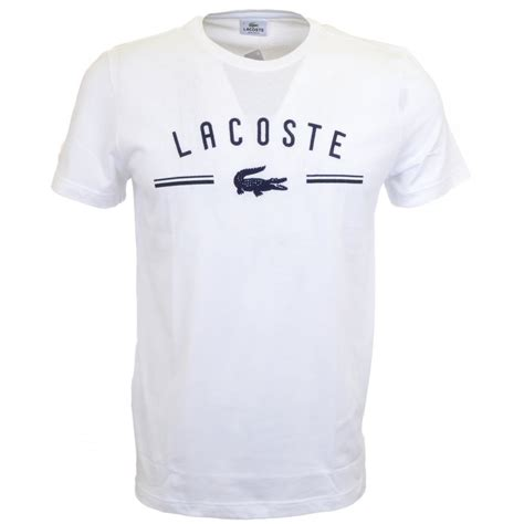 t shirt lacoste embroidered round neck white t shirt lacoste