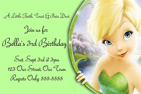 tinkerbell birthday card template free templates for birthday invitations drevio