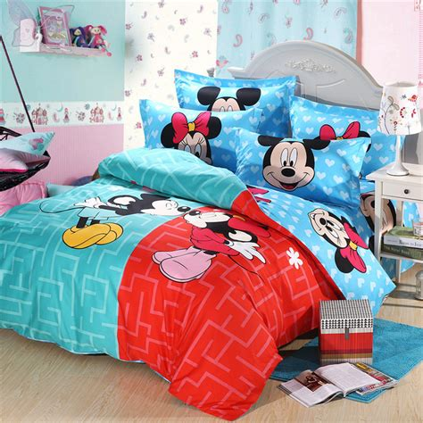 Mickey And Minnie Mouse Full Size Kids Cartoon Bedding Set Minnie And Mickey Mouse Bed Set