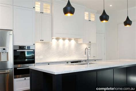 contemporary black  white kitchen design completehome