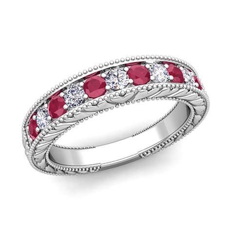 vintage and ruby wedding ring band in 18k gold