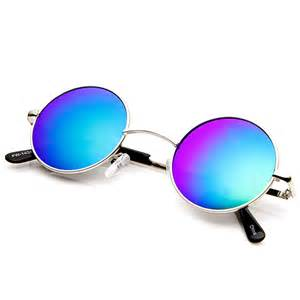color sunglasses lennon style small color mirrored lens circle