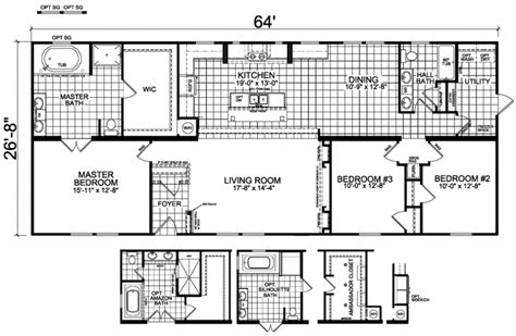 double wide floor plans nc emerens 27 x 64 1706 sqft mobile home factory expo home