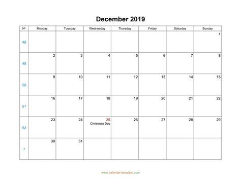 december calendar  blank template