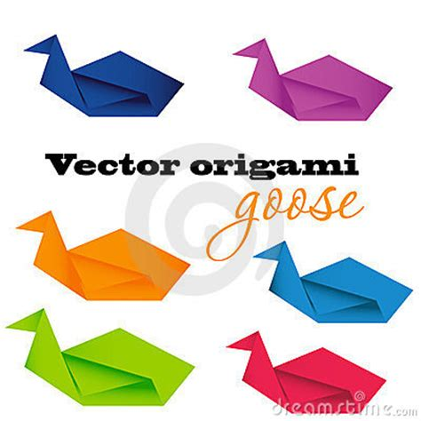 Origami Goose - illustration of origami goose vector stock photos