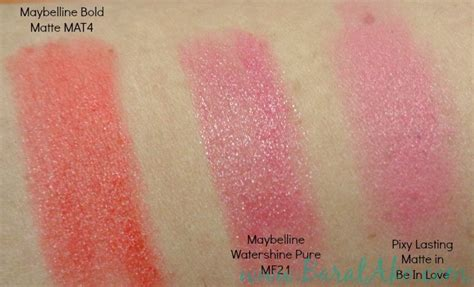 Lipstick Pixy Semi Matte reviews swatches maybelline shawill pixy in2it pond s barat ako