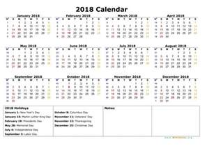 Calendar 2018 Federal Holidays 2018 Calendar With Federal Holidays Printable Free