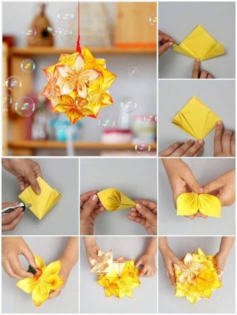How To Make Origami Hanging Decorations - diy origami kusudama flower tutorial step by step