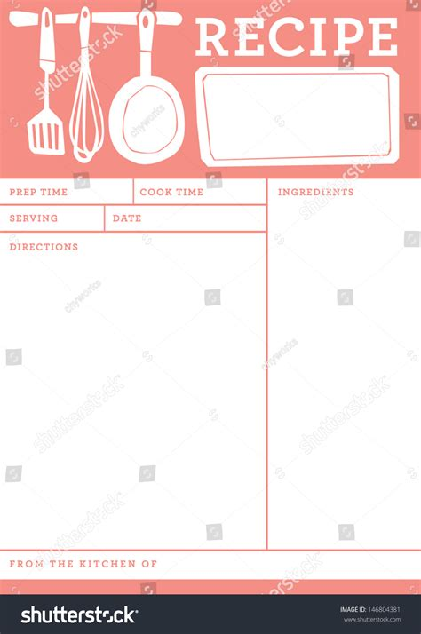 recipe card template one note recipe card kitchen note template stock vector 146804381