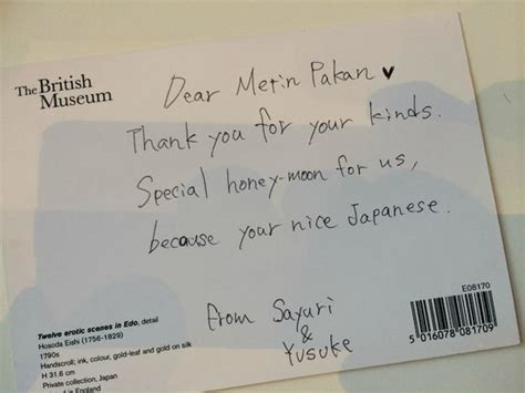 Thank You Letter To Japanese A Thank You Note To Our Manager From A Honeymoon From Japan Picture Of Great