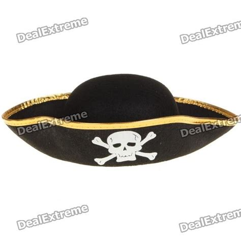 cool pirate hat cap with skull pattern black gold
