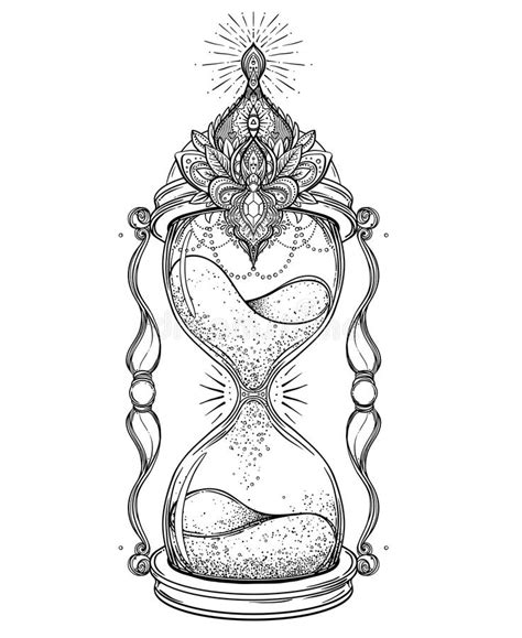 decorative antique hourglass with roses illustration
