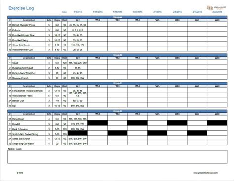 fitness program template free workout log template spreadsheetshoppe