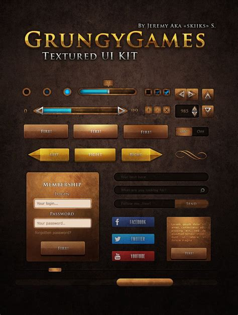 design game gui ui kit grungy games by skiiks deviantart com on