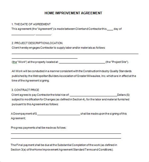 Home Remodeling Contract Template 7 Free Word Pdf Documents Download Free Premium Templates Home Improvement Contract Template Word