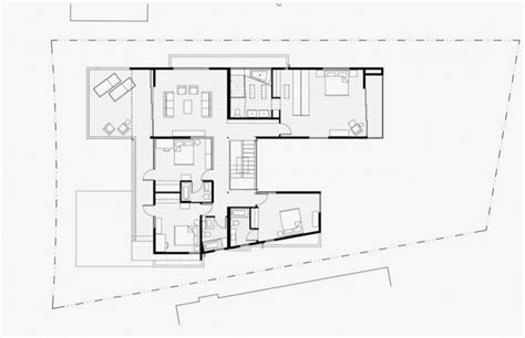 second floor plan of modern house with many open areas