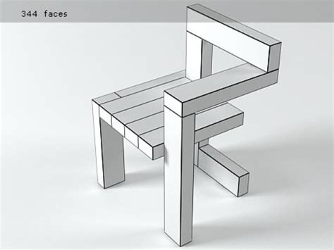 Steltman Chair 3d model   Rietveld by Rietveld