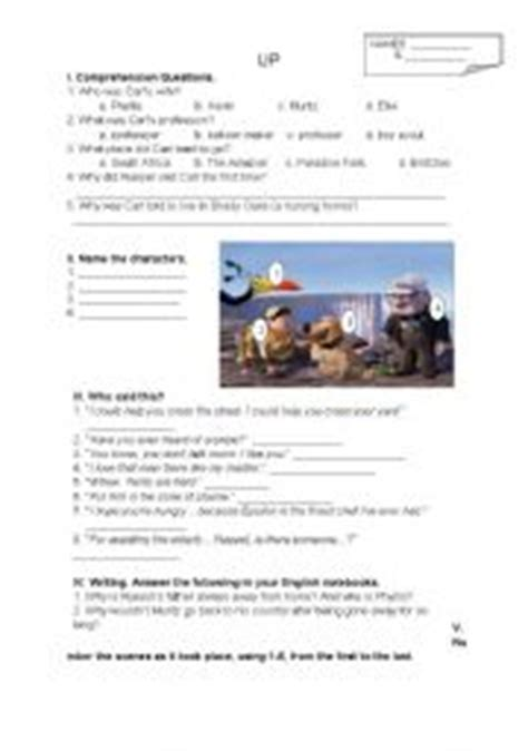 up film worksheet 2 pages 6 tasks for disney pixar 180 s up movie