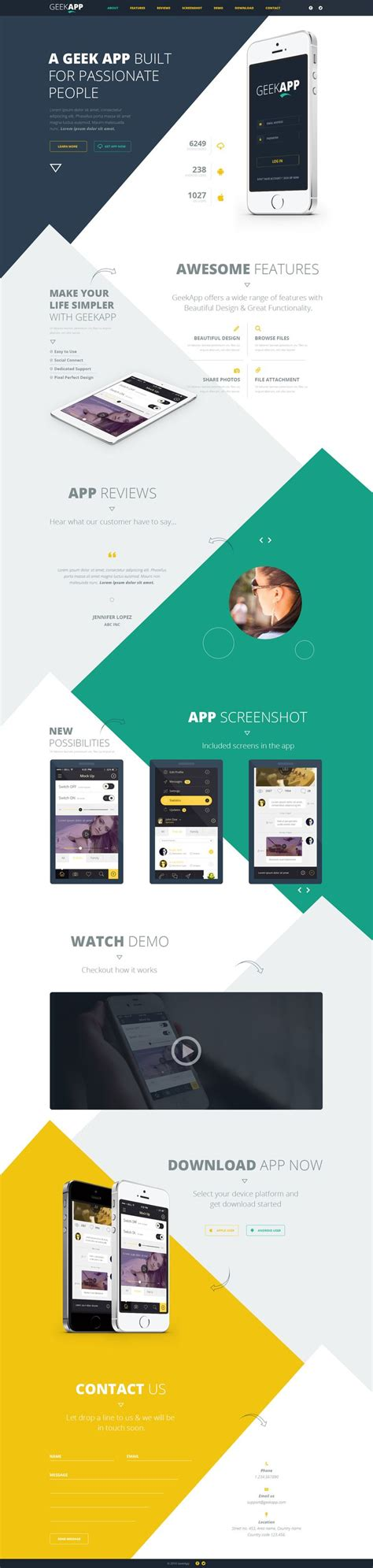 geek app landing page psd template download free psd