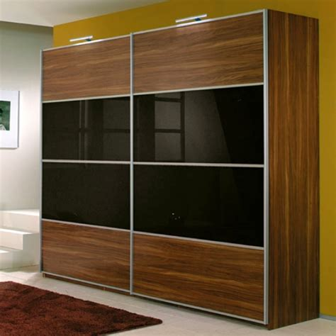Lemari Pakaian Sliding Kaca lemari pakaian minimalis walnut kaca hitam kitchen set