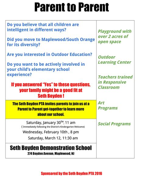 parent flyer templates choosing kindergarten meet parents seth boyden