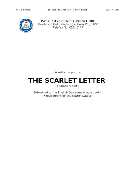 scarlet letter book report book report essays